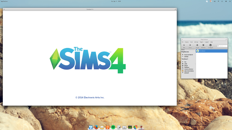 image of The Sims 4 loading screen within an elementary OS desktop