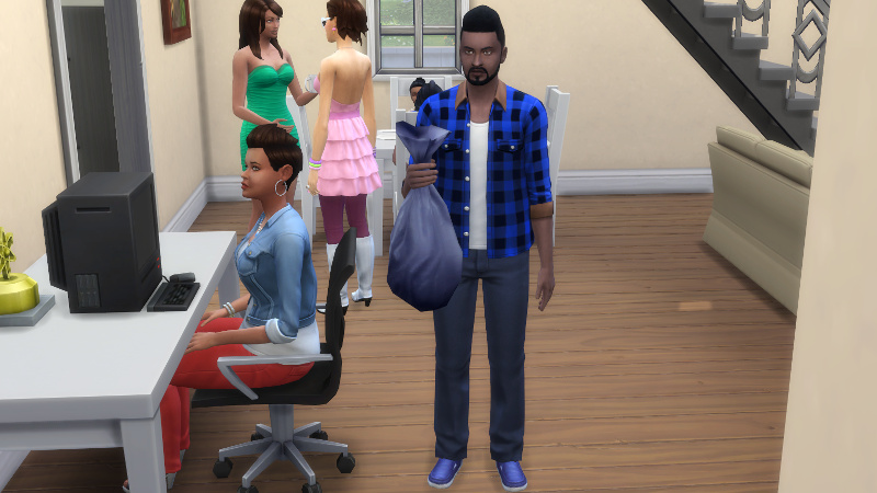 Melvin holds a bag of rubbish