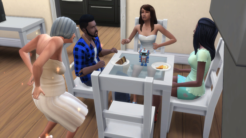Melvin and Christina eat, Claire laughs, and Tabitha transitions to elder!