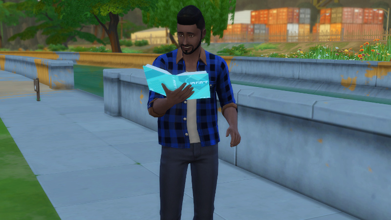 Melvin reads while standing next to the canal