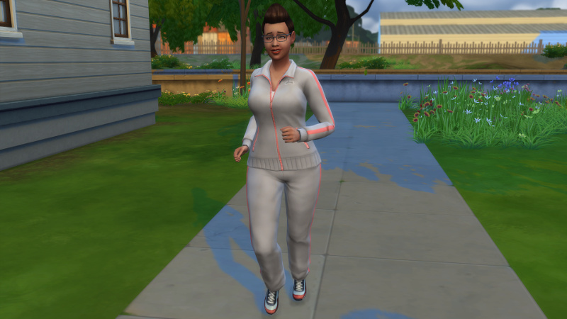 Stacey jogs in athletic gear and glasses