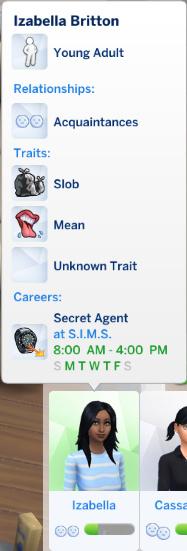 Izabella's traits: Slob, Mean; her job: Secret Agent