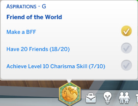 Stacey's aspiration progress: has a BFF; has 18/20 friends; has 7/10 Charisma skill points