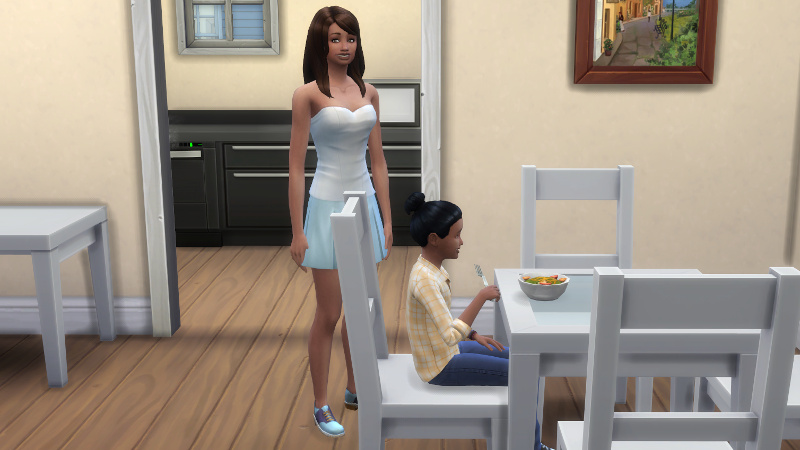 Claire smiles awkwardly as Zoe eats a bowl of salad