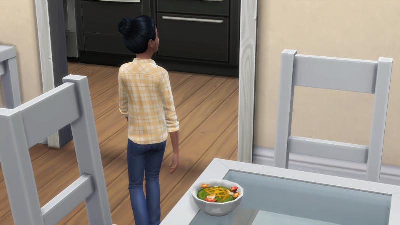 Zoe walks away from the salad