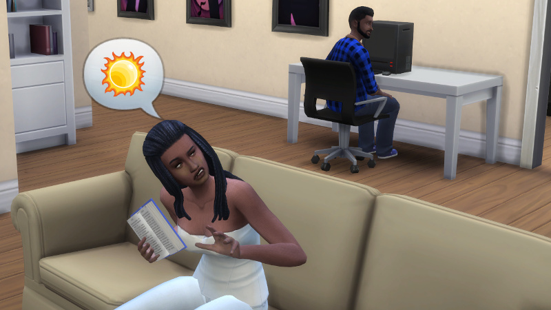Christina tells Melvin about the sun while holding her homework book the wrong way