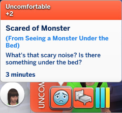Rachel has an Uncomfortable moodlet: Scared of Monster