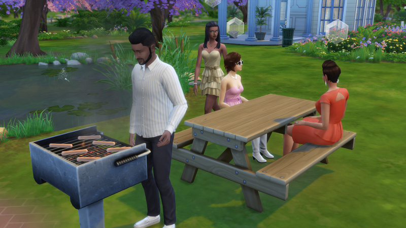 Melvin grills as some other sims sit at the picnic table