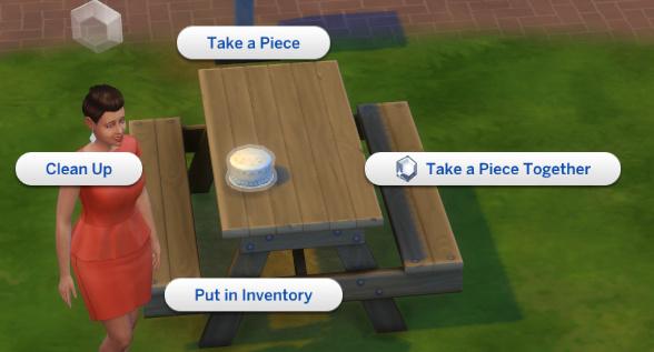 pie menu options for the cake