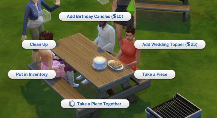 pie menu options for the cake, one minute later