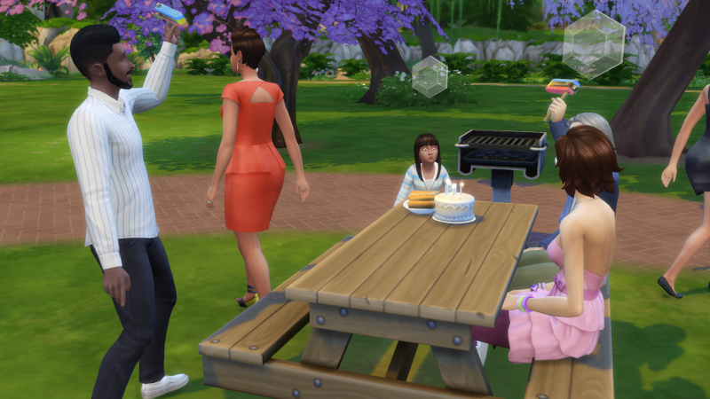 Rachel blows out her candles as Melvin and some grey-haired rando cheer, Liberty Lee looks on, and Stacey walks away