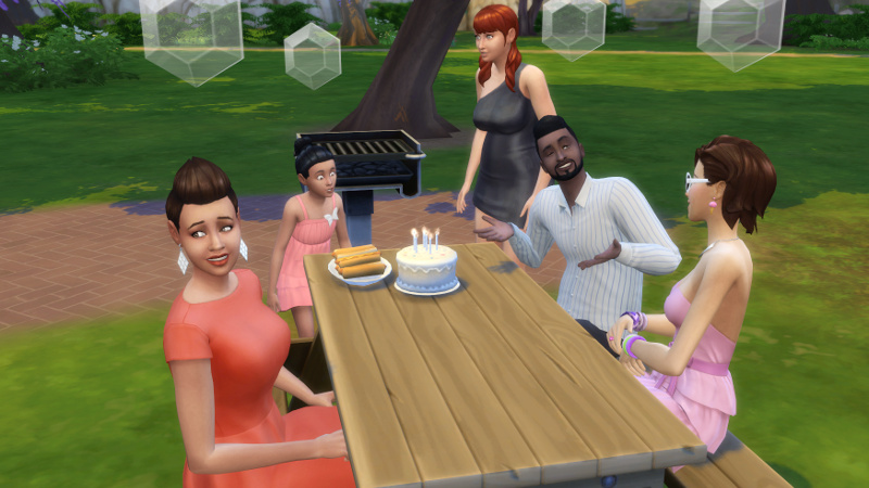Zoe blows out her candles as Stacey grimaces, Melvin and Liberty chat, and Amira stands up looking confused