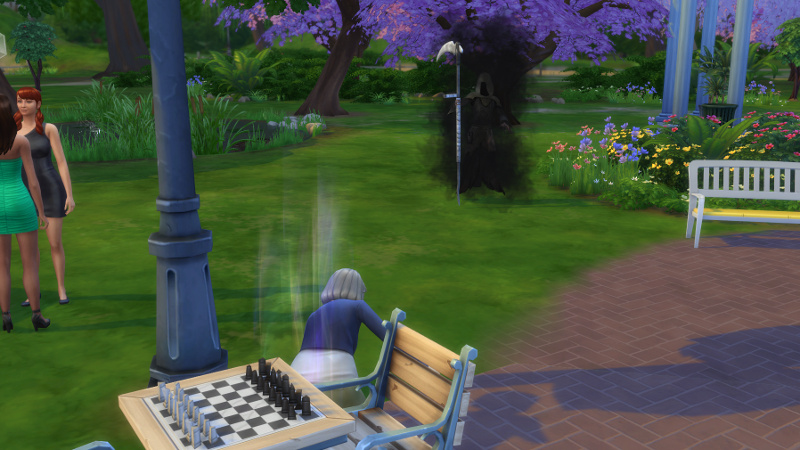Latasha falls to ground in foreground; in background, the Grim Reaper approaches