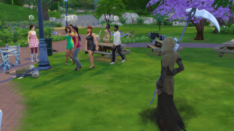 the Coopers and guests run to Latasha's body as the Grim Reaper draws closer