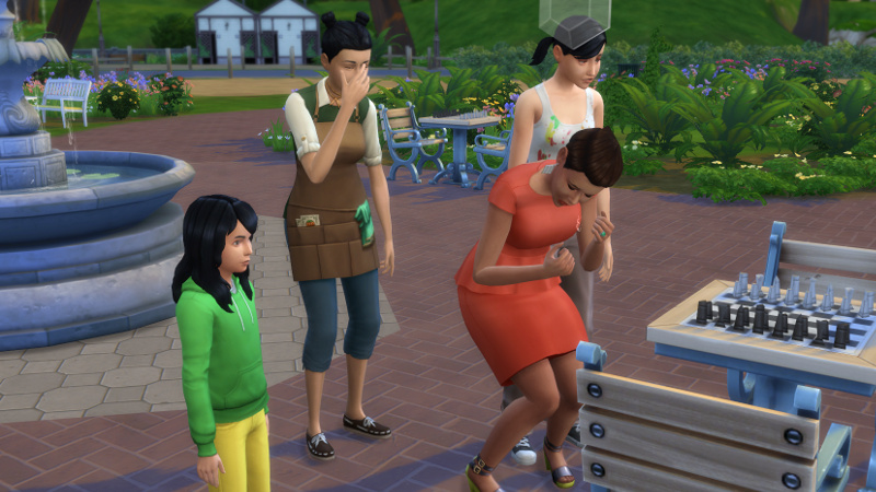 Stacey sobs; Cassandra Goth and a townie look sad; a kid looks vaguely irritated