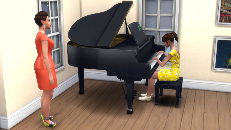Stacey looks appalled at Rachel playing the piano