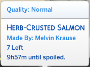 Herb-Crusted Salmon (Quality: Normal; Made By: Melvin Krause) 7 Left; 9h57m until spoiled
