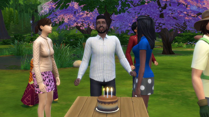 Melvin gasps in excitement at the birthday cake