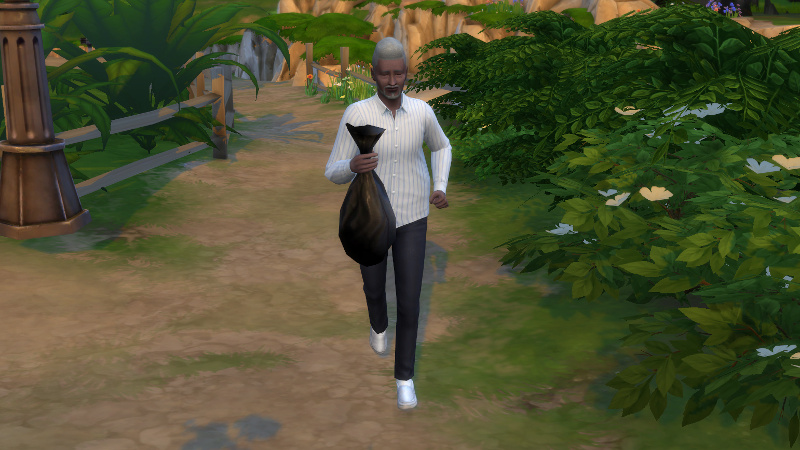 Melvin jogs, holding a bag of rubbish