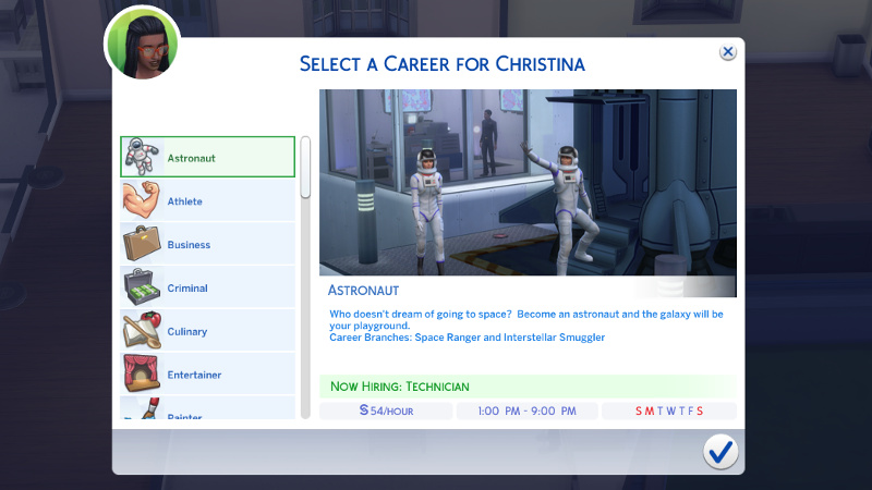 select a career for Christina: Astronaut
