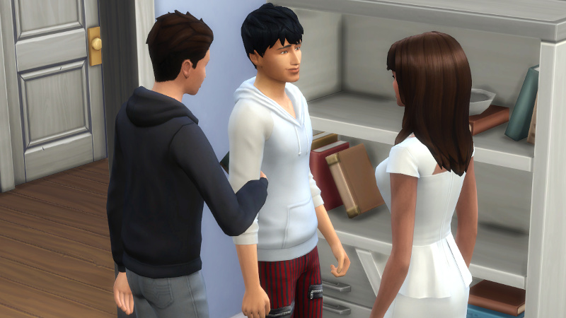 Claire and Julian try to have a romantic conversation while Kason reaches between them for the bookcase