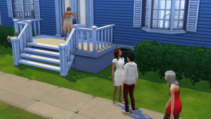 Tabitha Duff knocks on the Coopers' front door; Claire, Julian and Bella Goth remain on the footpath