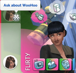 Zoe's queued action: Ask About WooHoo