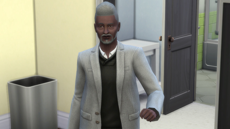 Melvin walks proudly in a shirt, vest and blazer