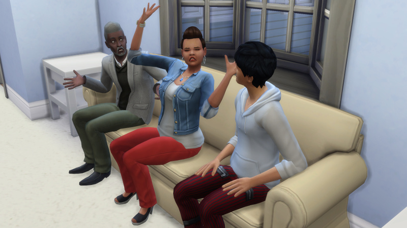 Julian listens as Claire and Melvin both talk animatedly to him