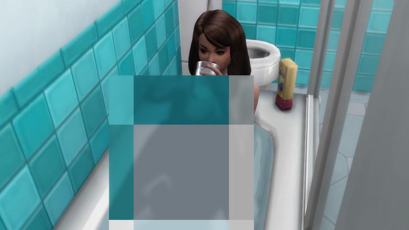 Claire drinks a glass of water in the bathtub