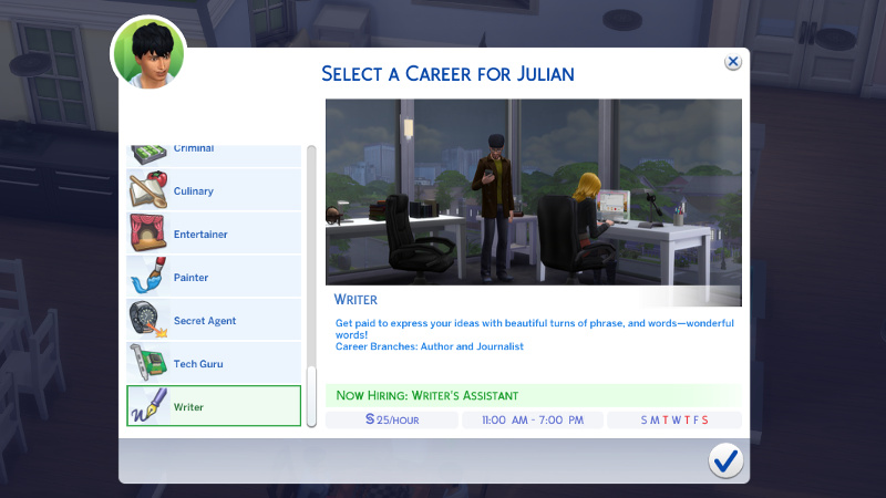 Select a career for Julian: Writer