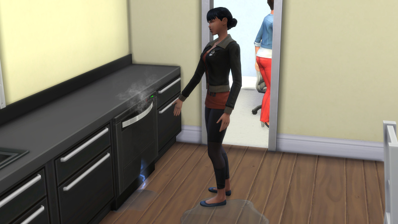 Zoe stands angrily next to a broken dishwasher in a puddle