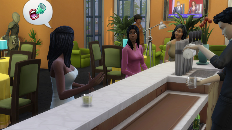 Christina tells two adult female sims about loudspeakers, while the Grim Reaper rolls in in the background