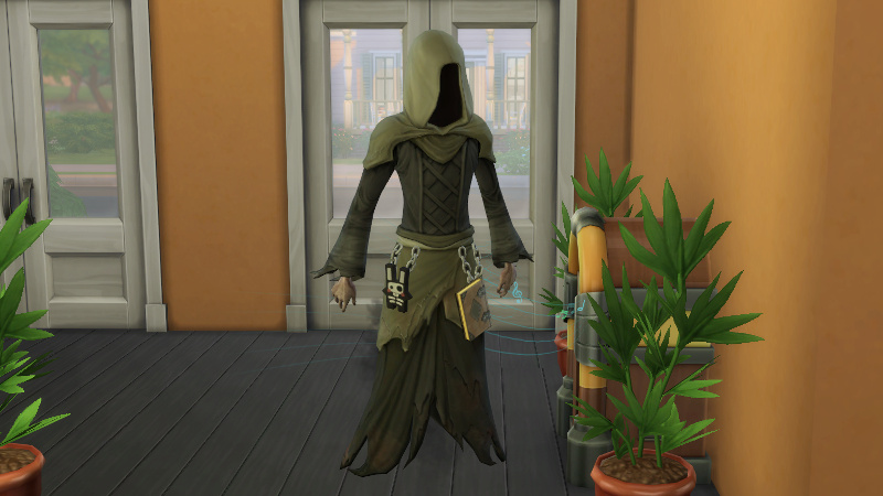 the Grim Reaper stands next to a jukebox in the bar