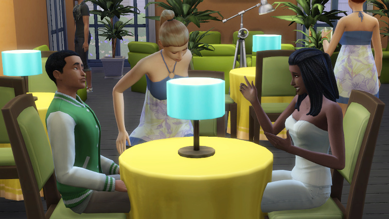 Christina and Amir are joined by a blonde Sim