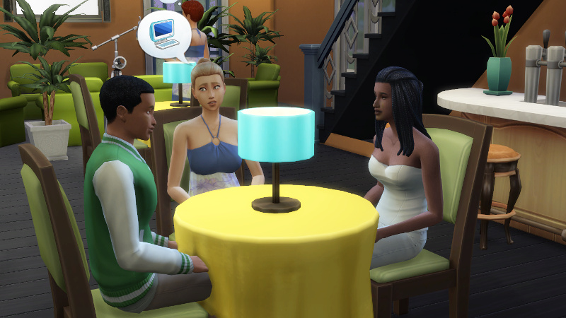 blonde Sim talks computers to Amir while staring at him with big, alluring eyes