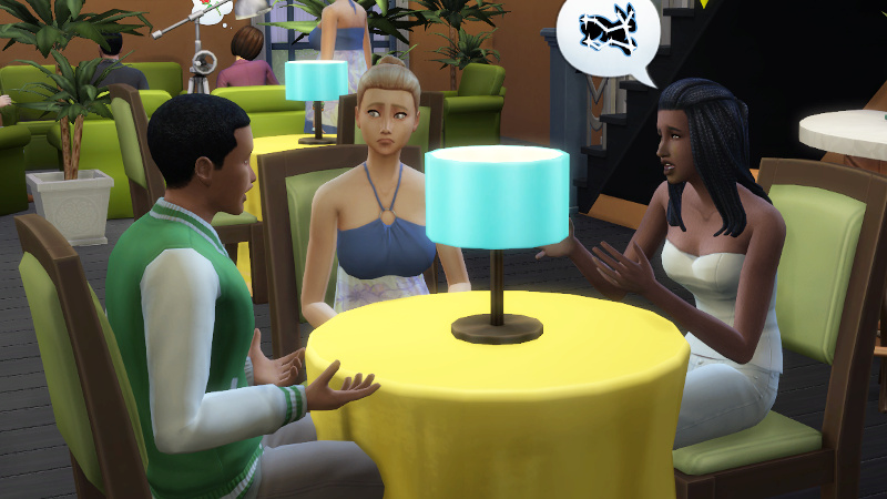 blonde Sim looks sad as Christina tells Amir about a bunny constellation