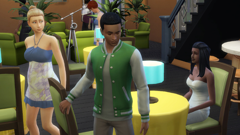 Christina sits; Amir gets up to leave; blonde Sim gets up and pouts