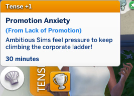 Christina has a Tense moodlet: Promotion Anxiety