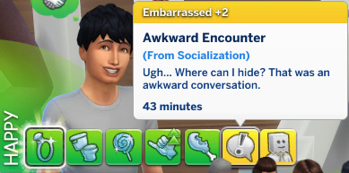 Julian has an Embarrassed moodlet: Awkward Encounter