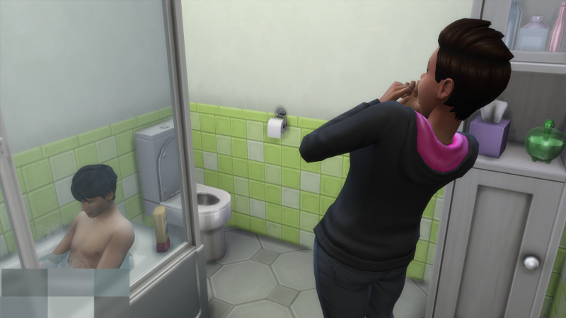 Stacey screams at the sight of Julian in the bathtub