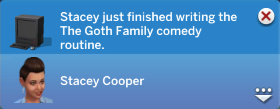 Claire has just finished writing the The Goth Family comedy routine!