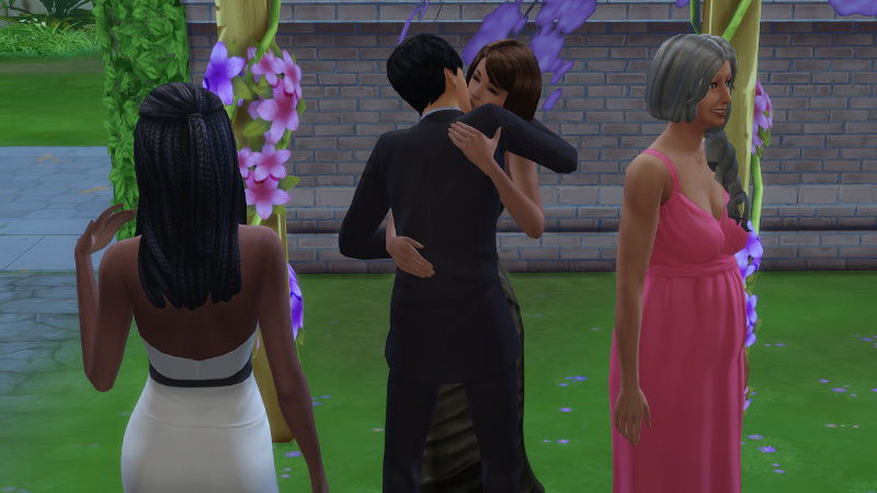 Christina fans herself as Claire and Julian kiss, and Tabitha smiles as she looks the other way