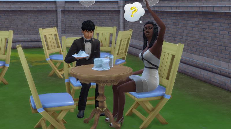 Christina waves as a question mark floats over her head; Julian grins at cake