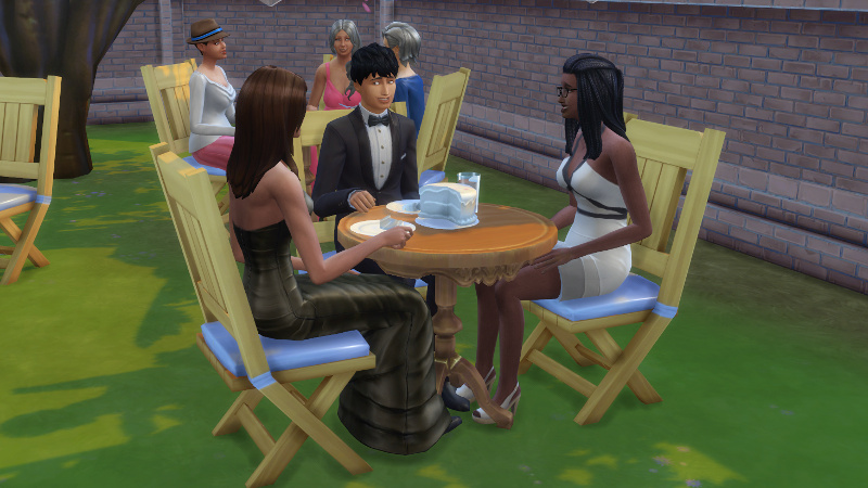 foreground: Claire, Julian and Christina; background: Stacey, Tabitha Duff and Liberty Lee (all seated)