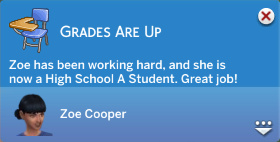 Grades Are Up! Zoe has been working hard, and she is now a High School A Student. Great job!