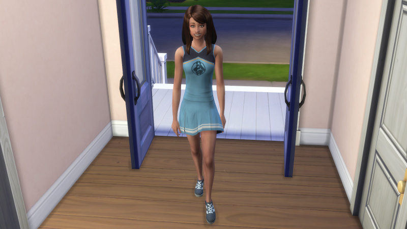 Claire walks into the house in a cheerleader uniform
