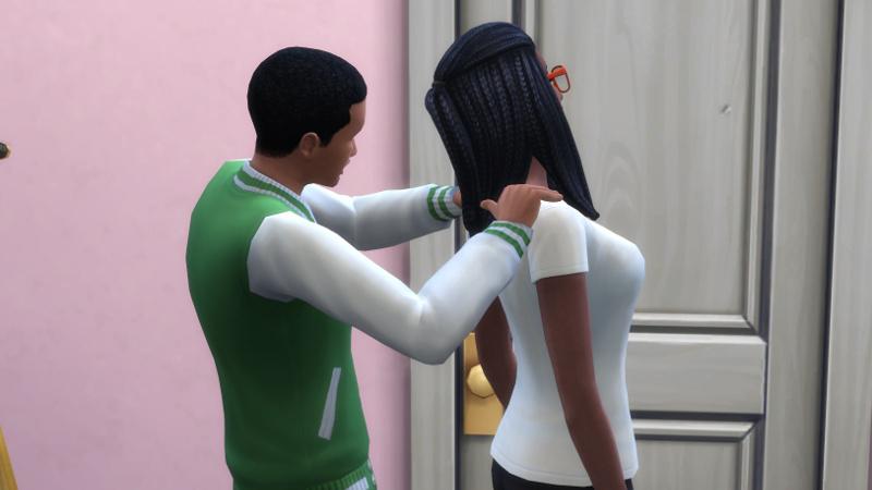 Amir massages Christina's back and shoulders