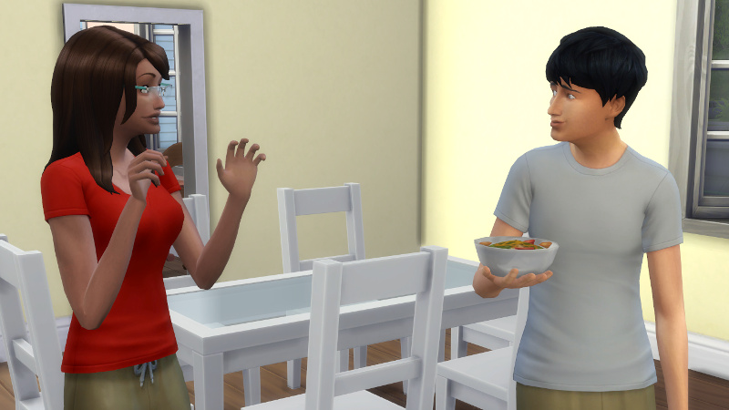 Claire starts telling Julian her news; Julian smiles awkwardly