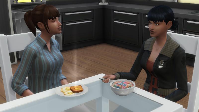 Rachel and Zoe eat breakfast